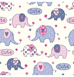 Seamless pattern with cute abstract elephants vector