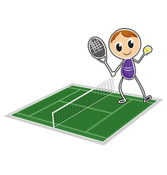 A young boy playing tennis vector image