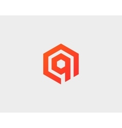 Abstract letter q logotype line hexagon vector