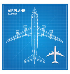airplane blueprint plan top view vector image vector image