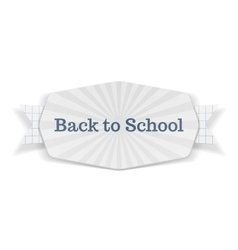 Back to school text on festive banner with ribbon vector
