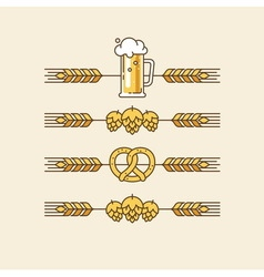 Beer linear design elements vector