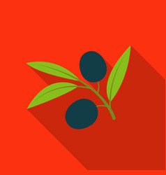 Branch of olives icon in flate style isolated on vector