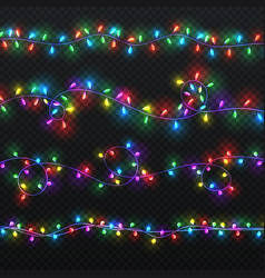 Christmas light garlands xmas decoration vector