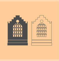 church building dark grey set icon vector image vector image