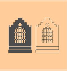 Church building dark grey set icon vector