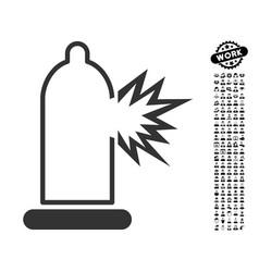 Condom damage icon with people bonus vector