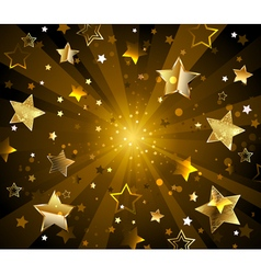 Dark radiant background with golden stars vector