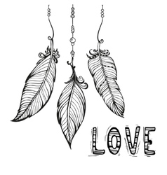 hand drawn poster with feathers Bohemian vector image