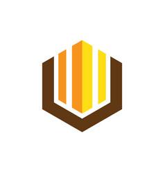 hexagon business finance logo vector image vector image