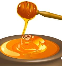 Honey with wooden spoon vector