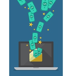 Laptop with banknote in envelope vector image vector image