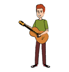 man playing guitar character vector image