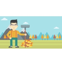 Man raking autumn leaves vector