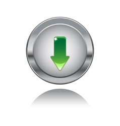 metal button with downloads sing vector image vector image
