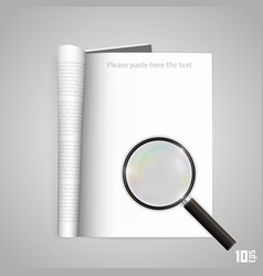 open paper magazine with magnifying vector image