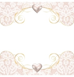 pearl frame on lace background vector image vector image