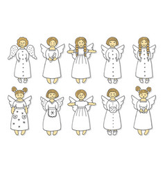 Set of colored angel icons vector
