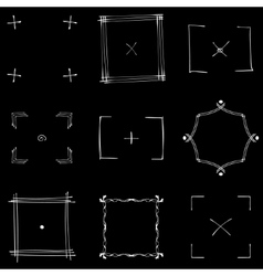 Set of nine square white doodle frames vector image vector image