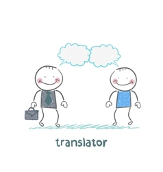 translator speaks with a businessman vector image vector image