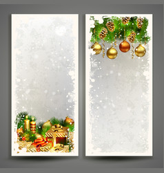two christmas greeting cards with gifts and pine vector image vector image