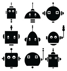 Vinatge robot heads 2 vector