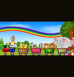 wild animal on the train with rainbow vector image