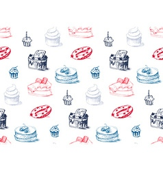 Tasty cakes seamless pattern vector