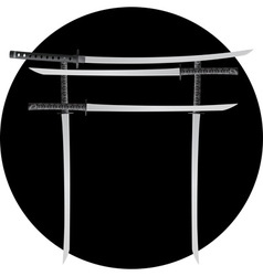 torii gate with japanese swords vector image