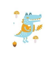 Blue Crocodile In Jacket Holding Oak Leaf Smiling vector image