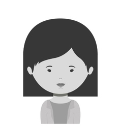 Monochrome half body woman with short hair vector