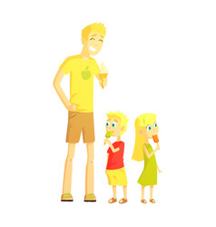 Dad and twin son and daughter eating ice-cream vector