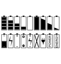 set of different battery icons vector image