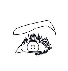female eyes mascara cartoon style line vector image