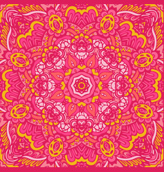 Pink flower mandala pattern ornamental background vector