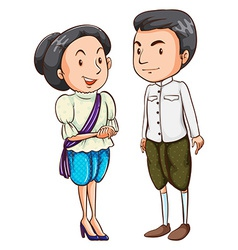 A couple wearing a national costume vector