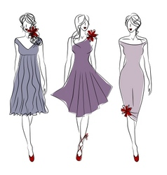 Three catwalk models vector