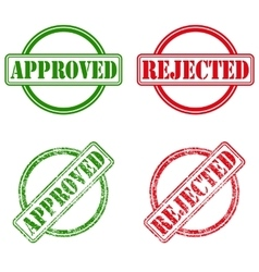 Approved and rejected ink stamps vector