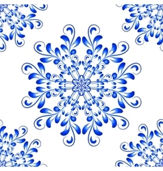 Blue Seamless Mandala Pattern in Gzhel vector image