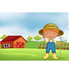 A farmer holding a hoe vector image vector image