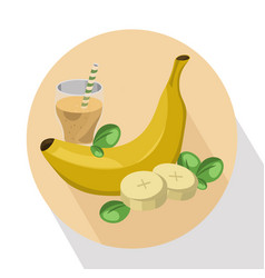 Banana shake fruit drink vector