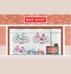 bicycle stores exterior or bike shops interior vector image vector image