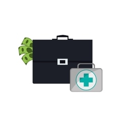 Briefcase and first aid kit icon vector