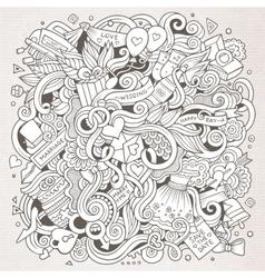 Cartoon cute doodles hand drawn wedding vector