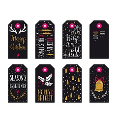 Collection of Christmas gift tags vector image vector image