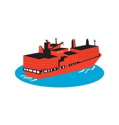 container cargo ship retro vector image vector image