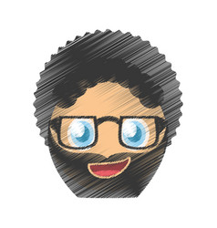 Drawing curly man glasses emoticon image vector