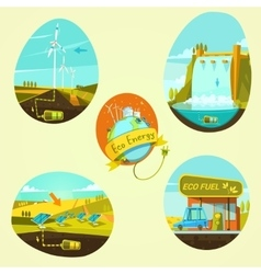 Ecological energy cartoon set vector