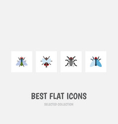 Flat icon fly set of fly housefly buzz and other vector