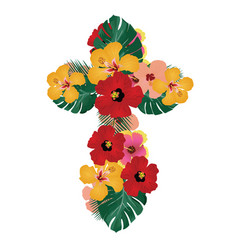 Floral cross vector